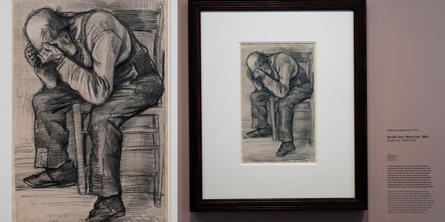 """Detail of Study for """"Worn Out"""", a drawing by Dutch master Vincent van Gogh, dated Nov. 1882, on public display for the first time at the Van Gogh Museum in Amsterdam, Netherlands, Thursday, Sept. 16, 2021."""