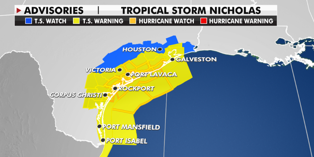 Weather advisories currently in effect as Tropical Storm Nicholas approaches Texas.