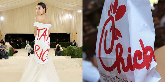 AOC's dress at the Met Gala and a bag from Chick-fil-A. (Jamie McCarthy/MG21/Getty Images for The Met Museum/Vogue -- MANDEL NGAN/AFP/GettyImages)