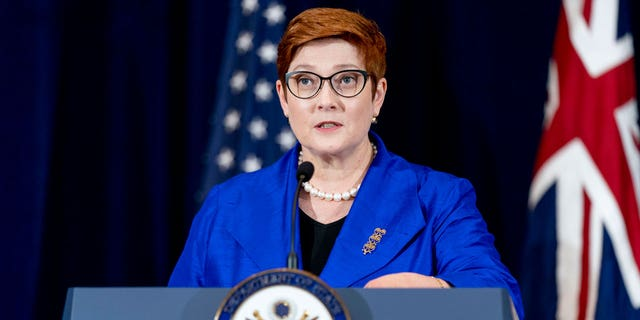 Australian Foreign Minister Marise Payne speaks during a news conference with Australian Minister of Defense Peter Dutton, Secretary of State Antony Blinken, and Defense Secretary Lloyd Austin at the State Department in Washington. Australia said on Saturday, Sept. 18, it regretted France's decision to recall its ambassador over the surprise cancellation of a submarine contract. (AP Photo/Andrew Harnik, File)