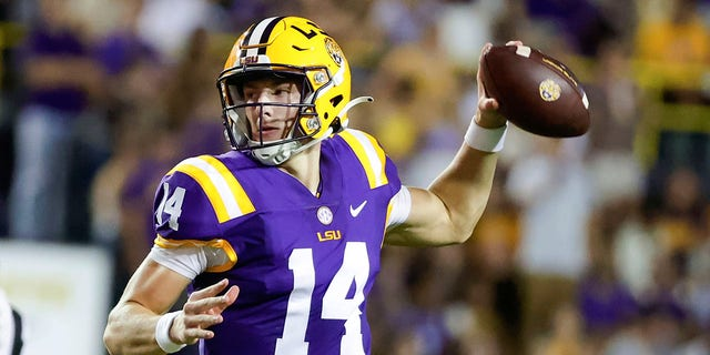 LSU quarterback Max Johnson throws a pass against Central Michigan during the second quarter of an NCAA college football game in Baton Rouge, La,. Saturday, Sept. 18, 2021.