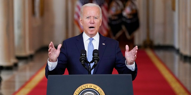 President Biden speaks about the end of the war in Afghanistan from the State Dining Room of the White House, Tuesday, Aug. 31, 2021, in Washington. (AP Photo/Evan Vucci)