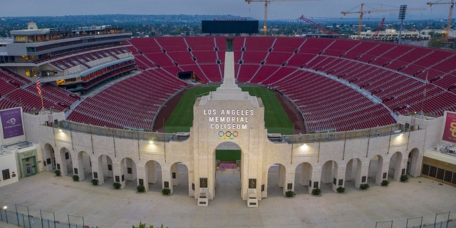 The Los Angeles Memorial Coliseum is home to the USC Trojan's football team.