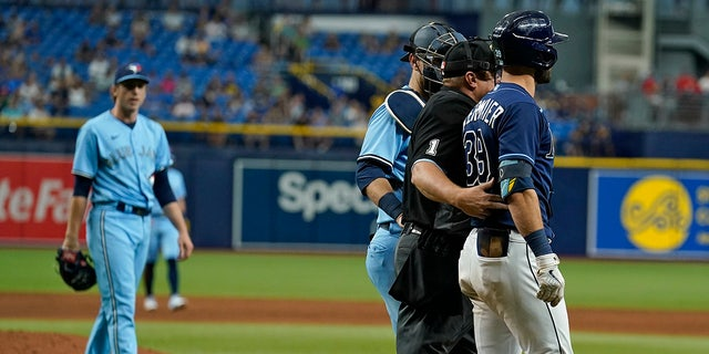 Tampa Bay Rays' Kevin Kiermaier, right, is held back by home plate umpire Bruce Dreckman and Toronto Blue Jays catcher Danny Jansen after Kiermaier was hit with a pitch by starting pitcher Ryan Borucki, 对, during the eighth inning of a baseball game Wednesday, 九月. 22, 2021, in St. Petersburg, 弗拉.