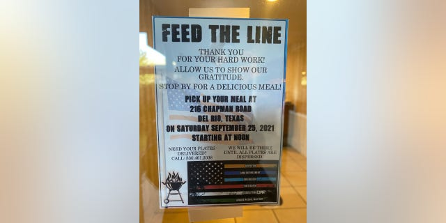 """A sign in Del Rio, Texas, reading, """"FEED THE LINE: Thank you for hard work!"""" illustrates how grateful local residents are to the border agents there to address the recent crisis."""