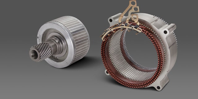 The smallest 62-kW induction EV motor is part of an all-wheel-drive system and primarily meant to provide auxiliary power when a vehicle is stuck.