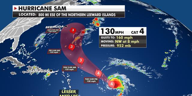 The current path of Hurricane Sam.