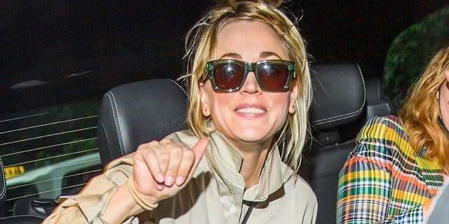 Kaley Cuoco enjoyed a night out with friends after filing for divorce from husband Karl Cook after three years of marriage.