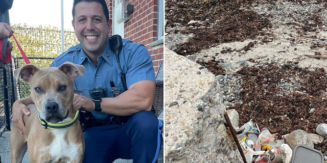 Massachusetts State Trooper Carlo Mastromattei and Killer are pictured left at Ocean View Kennels in Revere, where the dog is being cared for. The piece of rebar on the shore where the dog was found chained is pictured right.