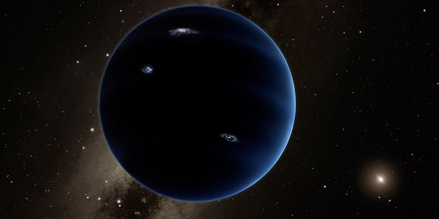 An artist rendering of the proposed Planet Nine that may orbit the sun beyond Neptune.