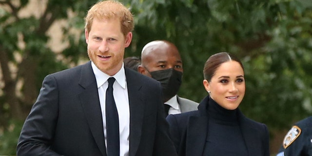 Prince Harry and Meghan Markle arrive at One World Trade center observatory in New York City, 새로운, 미국.