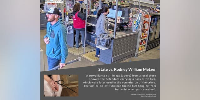 District Attorney Shannon Wallace announces that Rodney William Metzer, 36, has admitted to 14 charges related to an attack on his ex-wife that included kidnapping, assaulting, threatening her with a handgun, and leaving her bound with homemade zip tie handcuffs.