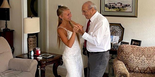 Natalie Browning told South West News Service that her grandfather had looked forward to dancing with her on her wedding day for months. Unfortunately, he was unable to travel on the big day due to his health. Browning brought the wedding to his Florida home a few weeks later and documented it in a touching video.