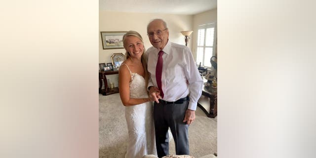 Natalie Browning, 24, traveled 800 miles to see her grandfather Nelson May, 94. According to a social media post she shared, Browning said she wanted to bring the wedding to her grandpa, who had to miss out on the big day due to health challenges.