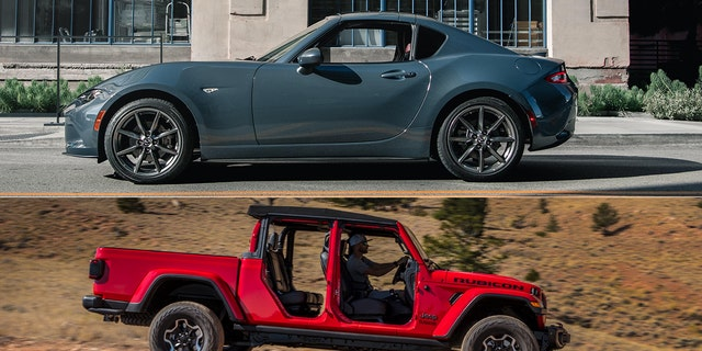 The Miata and Gladiator both offer open-top driving.