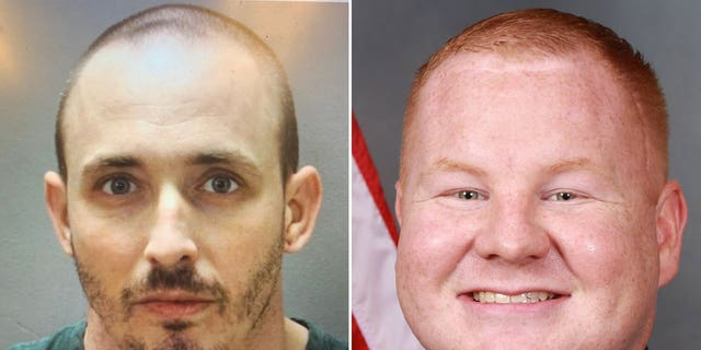 Patrick McDowell (left) is accused of shooting Nassau County Deputy Josh Moyers during a traffic stop on Friday. Moyers died at the hospital Sunday.