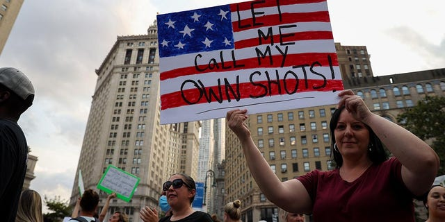 """NEW YORK, NY - SEPTEMBER 13: Hundreds are gathered at the Foley Square as """"Freedom Rally"""" to protest vaccination mandate in New York City, United States on September 13, 2021. (Photo by Tayfun Coskun/Anadolu Agency via Getty Images)"""