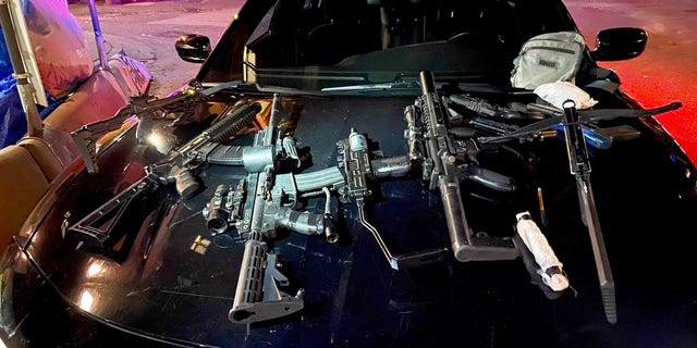 A weapons cache confiscated by police officers Friday night. Vancouver Police are investigating another random attack on a homeless man, who was shot with an arrow that someone fired from a Downtown Eastside building last night.