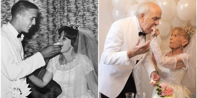 During their 59th anniversary photoshoot, Karen wore her original wedding dress and Gary wore a suit that looked like the one he wore in 1962.