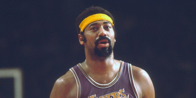 Wilt Chamberlain #13 of the Los Angeles Lakers in an NBA basketball game circa 1971.