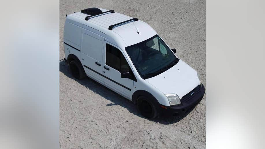 The 2012 Ford white converted camper van that Gabby Petito and her boyfriend were traveling in.