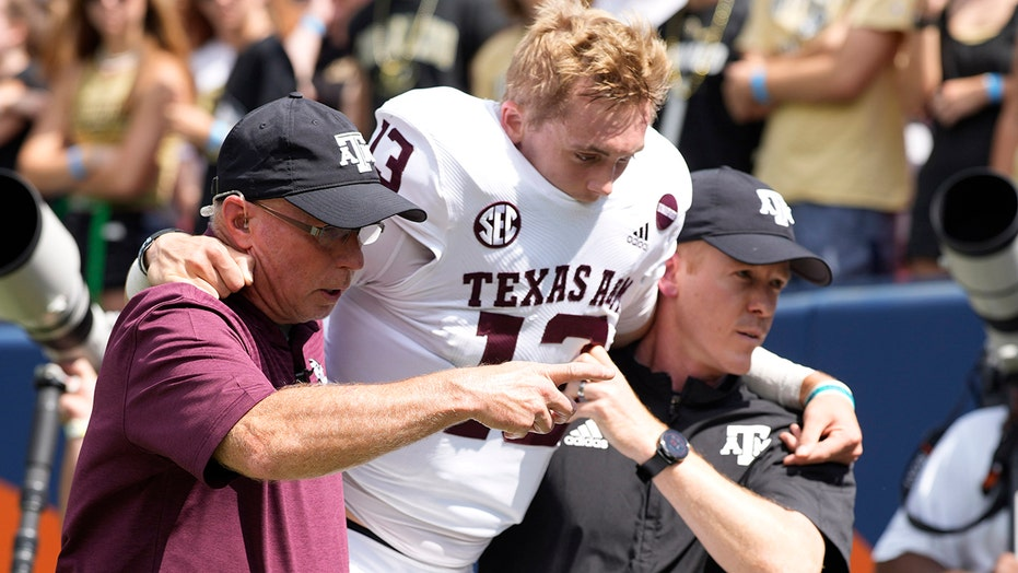 Texas A&M's Haynes King needed surgery after suffering 'crack' in lower leg, Jimbo Fisher says