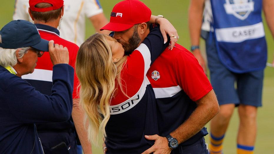 Dustin Johnson, Paulina Gretzky celebrate as golfer makes Ryder Cup history