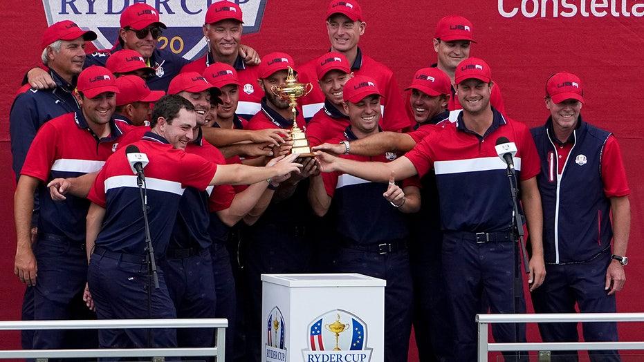 Bryson DeChambeau, Brooks Koepka hug after Ryder Cup victory