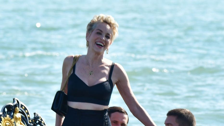 Sharon Stone returns to work in racy outfit