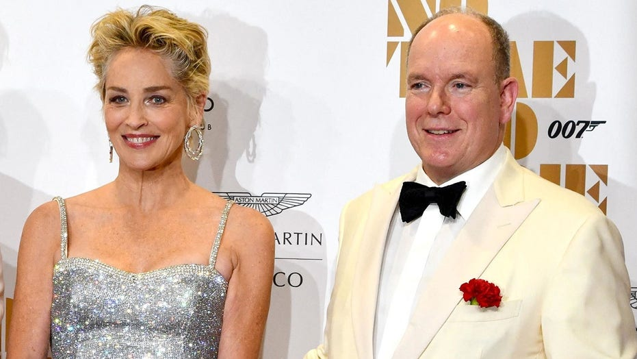 Sharon Stone turns heads with Prince Albert of Monaco at 'No Time to Die' film premiere