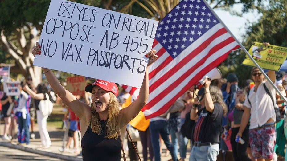 로스앤젤레스는 백신 반대 집회 지지자들이 공무원 관저에 나타난 후 집에서 시위를 벌였습니다.