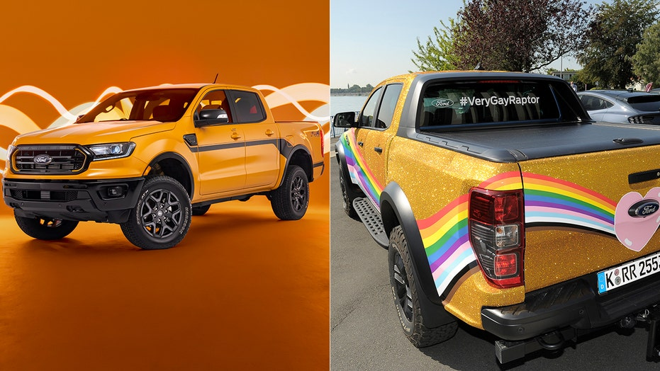 The Ford Ranger Splash and #VeryGayRaptor are two colorful trucks
