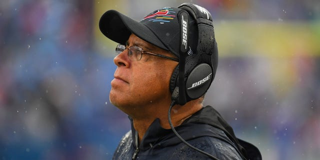Houston Texans head coach David Culley reacts to a play against the Buffalo Bills during the second half at Highmark Stadium.