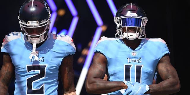 Sep 26, 2021; Nashville, Tennessee, USA; Tennessee Titans wide receiver Julio Jones (2) and Tennessee Titans wide receiver A.J. Brown (11) before the game against the Indianapolis Colts at Nissan Stadium. Mandatory Credit: Christopher Hanewinckel-USA TODAY Sports