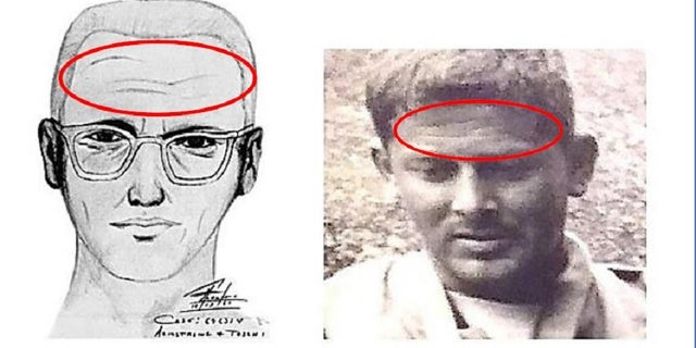 A sketch of the Zodiac Killer is compared to Gary Poste, specifically scars on the forehead in both images.