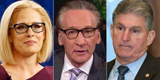Bill Maher, center, defended moderate Democratic U.S. Sens. Kyrsten Sinema of Arizona and Joe Manchin of West Virginia.