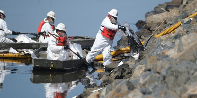 Cleanup contractors unload collected oil in plastic bags trying to stop further oil crude incursion into the Wetlands Talbert Marsh in Huntington Beach, Calif., on Sunday. (AP)