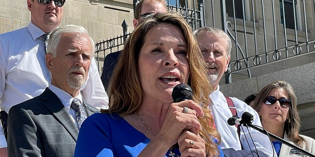 Republican Lt. Gov. Janice McGeachin of Idaho addresses a rally on the Statehouse steps in Boise, Sept. 15, 2021.