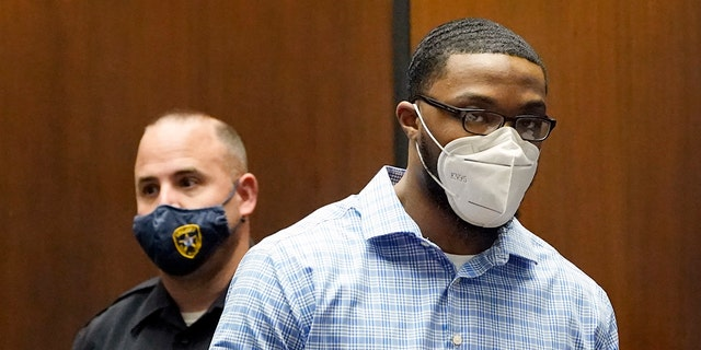 Khalil Wheeler-Weaver, 25, arrives to the courtroom for his sentencing in Newark, N.J., Wednesday, Oct. 6, 2021. Wheeler-Weaver, who used dating apps to lure and kill three women five years ago, was sentenced Wednesday to 160 years in prison after a trial in which it was revealed that friends of one victim did their own detective work on social media to ferret out the suspect. (AP Photo/Seth Wenig, Pool)