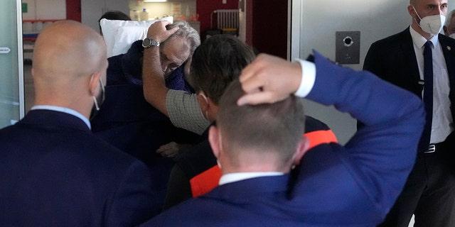 Czech Republic's President Milos Zeman is admitted to the Military hospital in Prague, Czech Republic, Sunday, Oct. 10, 2021. (AP Photo/Petr David Josek)