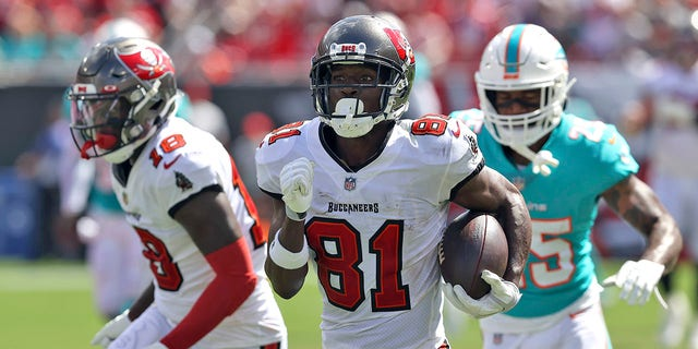 Tampa Bay Buccaneers wide receiver Antonio Brown (81) heads for a score on a 62-yard touchdown reception during the first half of an NFL football game against the Miami Dolphins Sunday, Oct. 10, 2021, in Tampa, Fla.