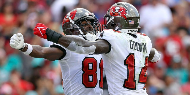 Tampa Bay Buccaneers wide receiver Antonio Brown (81) celebrates his score against the Miami Dolphins with wide receiver Chris Godwin (14) during the first half of an NFL football game Sunday, Oct. 10, 2021, in Tampa, Fla.