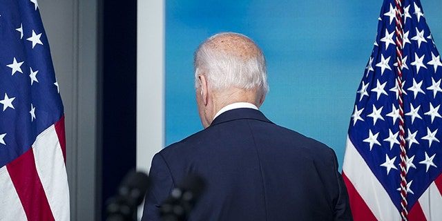 President Joe Biden departs following remarks in the Eisenhower Executive Office Building in Washington, D.C., on Thursday without taking questions. (Al Drago/Bloomberg via Getty Images)