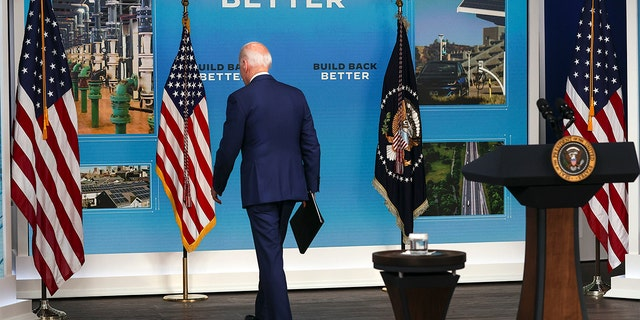 President Biden turned his back on reporters and walked away as they shouted questions that went unanswered on Friday following his remarks on a bleak September jobs report.  (Photo by Chip Somodevilla/Getty Images)