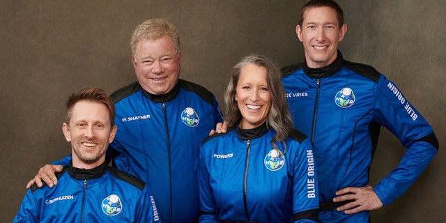 This undated photo made available by Blue Origin in October 2021 shows, from left, Chris Boshuizen, William Shatner, Audrey Powers and Glen de Vries. (Blue Origin via AP)