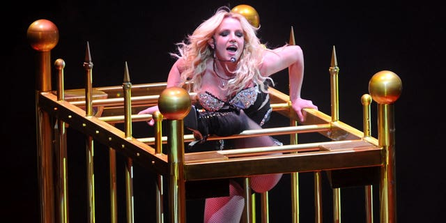 Britney Spears is pictured here kicking off her Circus Tour at the New Orleans Arena.