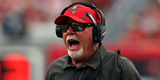 Tampa Bay Buccaneers head coach Bruce Arians questions an officials call against the Atlanta Falcons during the first half of an NFL football game Sunday, Sept. 19, 2021, in Tampa, Fla.