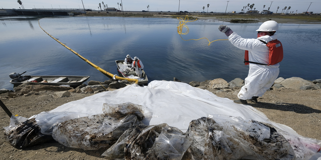 Cleanup contractors collect oil in plastic bags trying to stop further oil crude incursion into the Wetlands Talbert Marsh in Huntington Beach, Calif., on Sunday.