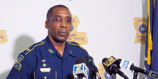 Col. Lamar Davis, superintendent of the Louisiana State Police, speaks about the agency's release of video involving the death of Ronald Greene, at a press conference held Friday, May 21, 2021, in Baton Rouge, La. Greene was jolted with stun guns, put in a chokehold and beaten by troopers, and his death is now the subject of a federal civil rights investigation. (AP Photo/Melinda Deslatte)