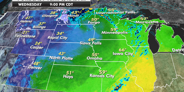 Forecast temperatures for the Central Plains